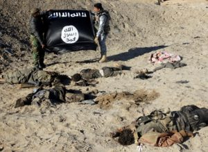 ATTENTION EDITORS - VISUAL COVERAGE OF SCENES OF INJURY OR DEATH Iraqi security forces hold an Islamist State flag near the bodies of dead members of the Islamic State in the outskirt of Ramadi December 23, 2014. Picture taken December 23, 2014. REUTERS/Stringer (IRAQ - Tags: CONFLICT TPX IMAGES OF THE DAY) TEMPLATE OUT - RTR4JC85